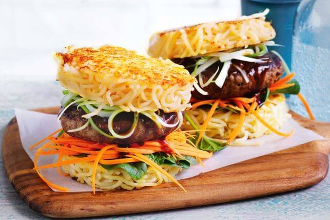 Ramen burger with noodle buns and soy-sesame